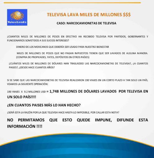TELEVISA LAVA MILLONES