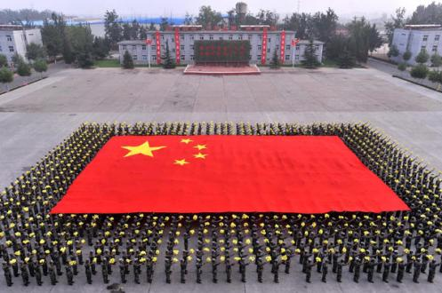 """Soldiers on the People""""s Liberation Army selected for the National Flag formation exercise the march"""