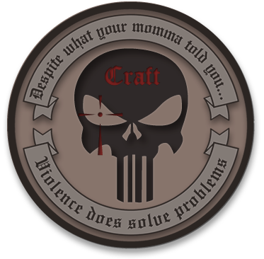 """El logo oficial de Craft International versa a los costados: """"La violencia sí resuelve problemas"""""""