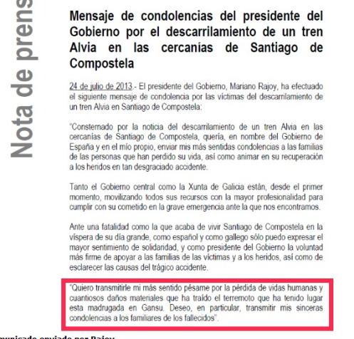 Imagen del comunicado de prensa erróneo del Palacio de la Moncloa. El Gobierno mezcla la tragedia de Santiago con el terremoto de Gansu.