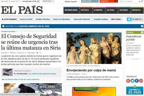 Cabecera de El País, 21.8.2013