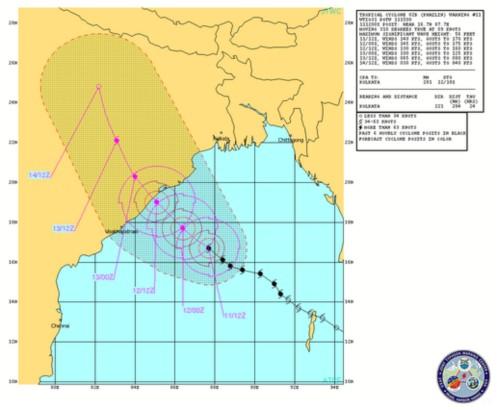 Advertencia grafica del super coclón Phailin 11 de octubre 2013. (Crédito de la imagen: JTWC)