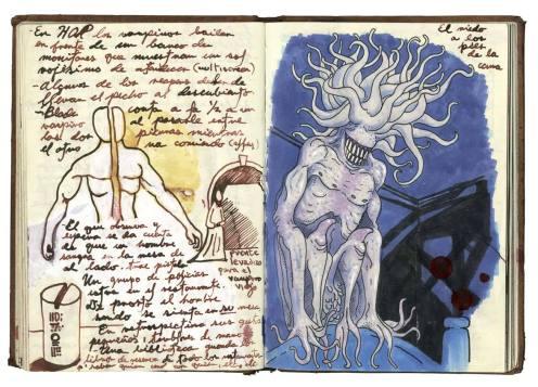 Ilustración del libro del director mexicano llamado 'Gabinete de curiosidades', un ibro de apuntes, colecciones y otras obsesiones.  AP