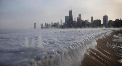 Lago Michigan de Chicago congelado el 6 de enero de 2014 en Estados Unidos, con temperaturas de -16 grados Centígrados. (Scott Olson/Getty Images)