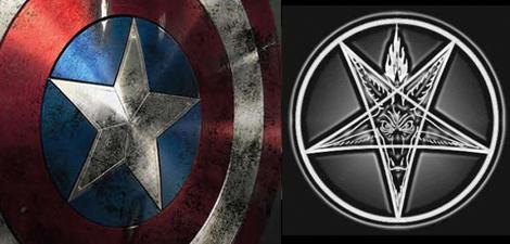 Pentagrama satánico en escudo, representando la divinidad del  hombre como propio Dios.