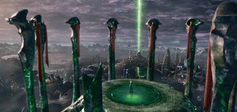 """""""Los Guardianes"""" sentados en cúpulas con forma de ojo. Al igual que el ojo masónico, este representa entidades no humanas supuestamente superiores."""
