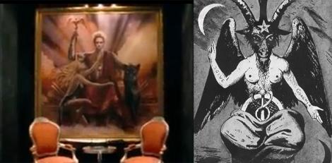 """Un retrato del mago representando a Baphomet y la ley satánica """"como es arriba es abajo"""""""
