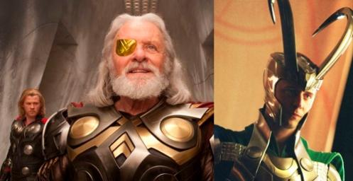 Odin/Lucifer/Horus representado como el Dios de un solo ojo. Su hijo Loki con cuernos revelando la verdadera naturaleza satánica.