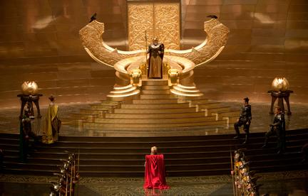 Odin sobre pirámide escalonada illuminati y cuernos.