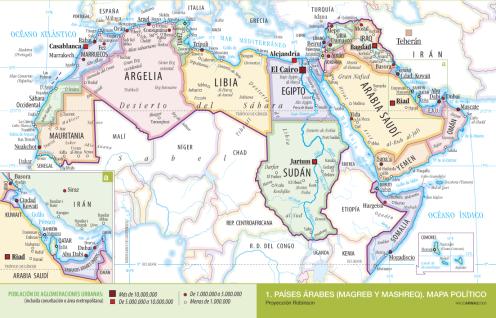 Mapa de países árabe