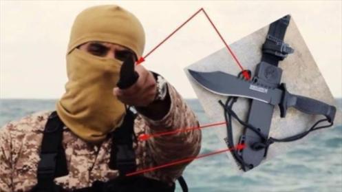 Un miembro del EIIL en el video que muestra la ejecución de 21 cristianos en Libia
