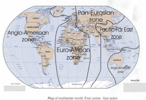 El proyecto del Eurasianismo de cara al futuro, prevé la división del planeta en 4 grandes zonas o polos