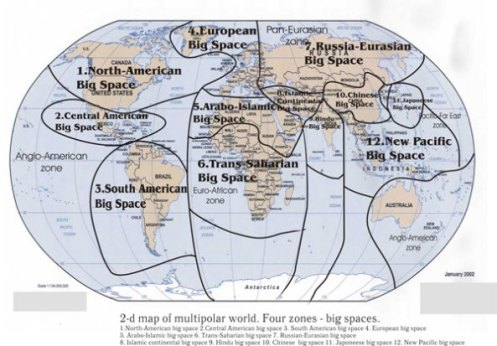 Asimismo, el modelo multipolar dle Eurasianismo, prevée la creción de varias regiones en el interior de estos 4 polos principales