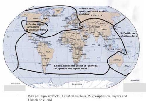 El Eurasianismo entra en conflicto con el proyecto de dominación atlantista, expuesto en este mapa: un proyecto unipolar de dominación mundial, en el que el tercer mundo es explotado y ocupado según los intereses del polo dominante centrado en EEUU