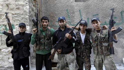 Un grupo de terroristas que luchan contra el Gobierno de Damasco en Alepo, noroeste de Siria