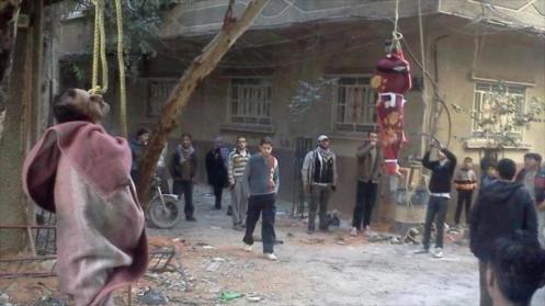 Palestinos ahorcados por EIIL en el campo de Al-Yarmuk