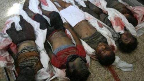 Los cadáveres de varios niños yemeníes que perdieron la vida en un ataque saudí.