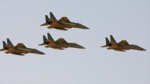 Aviones de guerra saudíes durante una operación militar contra el territorio yemení.