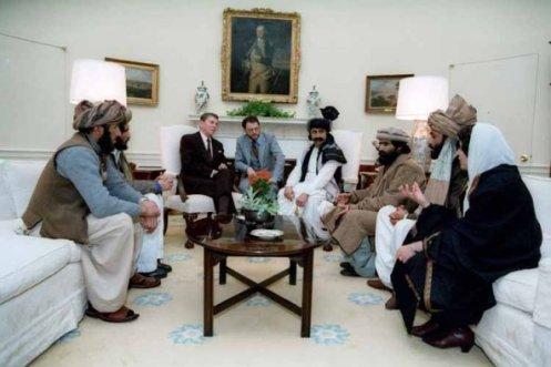 Reagan reunido con los Mujaidines afganos