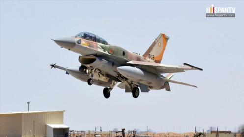 Un avión F-16 de la fuerza aérea israelí