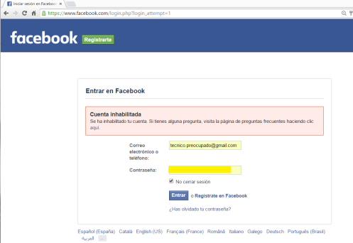 Cuenta inhabilitada de Raimundo Valiente (yo) en Facebook
