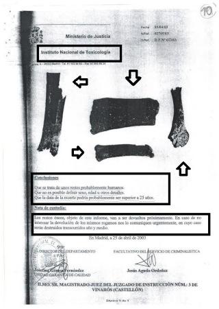 Restos humanos hallados en el bar España