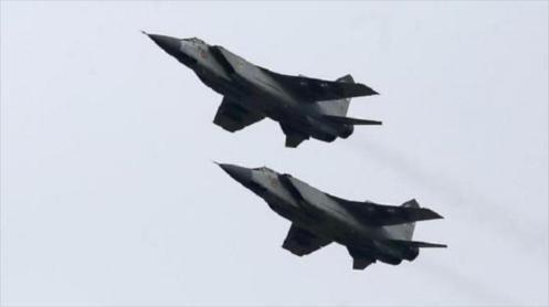 Aviones Mig 31 de la Fuerza Aérea de Rusia.