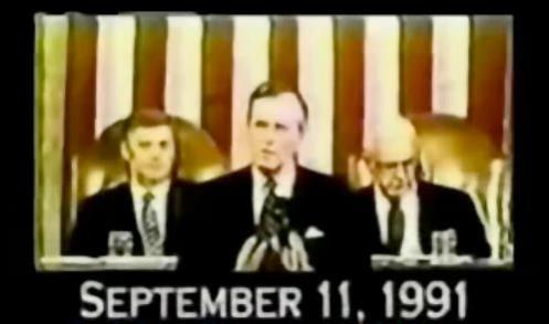 """11 de septiembre de 1991, George Bush padre nos promete un Nuevo Orden Mundial...sí o sí...que fuera un 11 de septiembre no es casualidad, ya que esta también es una fecha de tinte satanista. En la kabala el 11 representa a Shaytan el demonio, que para ellos está por sobre Dios que es representado por el número 10. Así es que en términos cabalísticos, si un mago negro quiere """"superar"""" a Dios, debe llegar al 11 sin pasar por el número 10, y así tenemos que un 9+1+1, da 11 (sin mencionar el 10), y la fecha 9/11 por tanto, no es una casualidad, como tampoco el derribamiento de las torres gemelas, ni nuestro 11 de septiembre de 1973 en Chile que dió origen al sistema de opresión neoliberal, que no es otra cosa que el grillete favorito del sionismo para aprisionar por dinero y deuda ahora a naciones completas."""