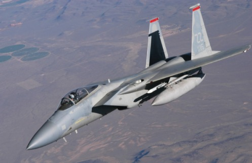 An F-15C Eagle from the 67th Fighter Squadron, Kadena Air Base, Japan, breaks away from a KC-135 Stratotanker assigned to the 185 Air Refueling Wing, Iowa Air National Guard, after being refuled during Red Flag 09-1 at Nellis Air Force Base, Nev., Oct. 24, 2008. (U.S. Air Force photo/Staff Sgt. Kenya Shiloh)