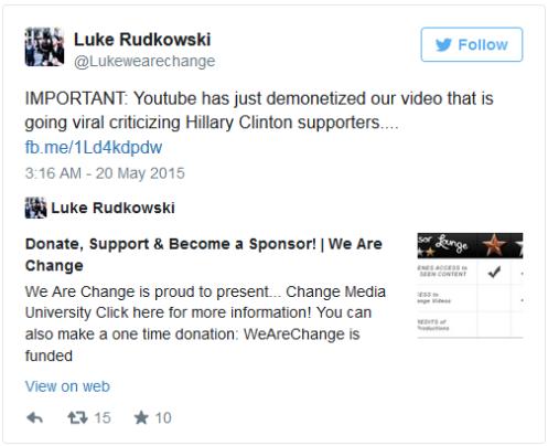 """Luke Rudkowski decía: """"IMPORTANTE: Youtube ha desmonetizado nuestro video que se estaba convirtiendo en viral y en el que se criticaba a los seguidores de Hillary Clinton…"""""""