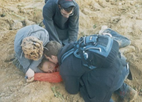 Rachel Corrie después de haber sido aplastado