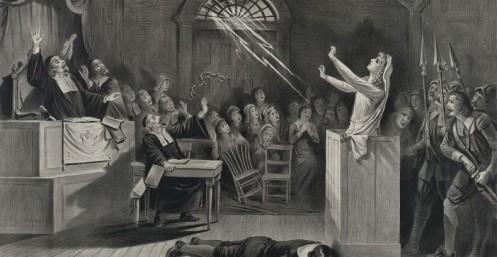La bruja (The witch). Litografía sobre los Juicios de Salem de Joseph E. Baker
